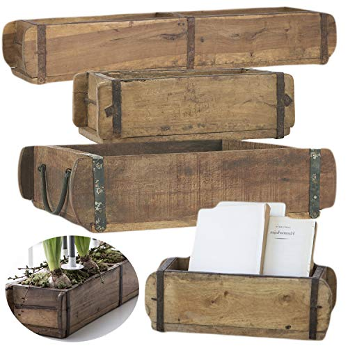 LS-LebenStil Alte Holz Aufbewahrung-Box Ziegelform 2-Fach Braun 57x15x10cm Original Unika
