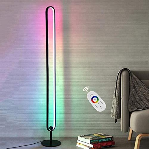 XXLYY Lámpara de Piso RGB, lámpara de Piso de Esquina LED Regulable con Control Remoto, lámpara de Piso para decoración de Dormitorio, Estante trípode de aleación de Aluminio de 55'de Alto