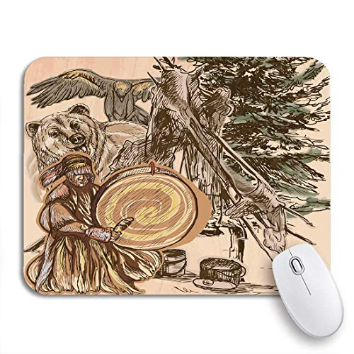 Adowyee Gaming Mouse Pad Schamane Native Man Drum Drummer Sitzen im Wald Rutschfeste Gummiunterlage Mousepad für Notebooks Computer Mausmatten