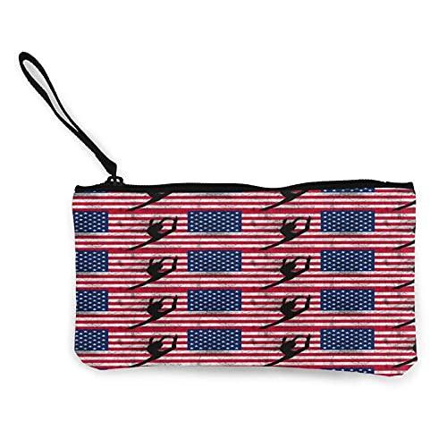 Monedero clásico de lona con diseño de bandera americana para gimnasia, bailarín, bolsa de maquillaje, bolsa para teléfono móvil con asa