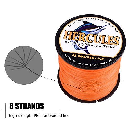 HERCULES Super Cast 500M 547 Yards Braided Fishing Line 200 LB Test for Saltwater Freshwater PE Braid Fish Lines Superline 8 Strands - Orange, 200LB (90.7KG), 0.75MM