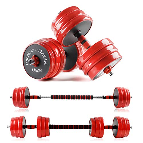 Gnpolo Adjustable Weights Dumbbells Set, 55Lbs & 88Lbs 2 in 1 Adjustable Weights Dumbbells Barbell Set, Home Fitness Weight Set Gym Workout Exercise Training with Connecting Rod for Men Women