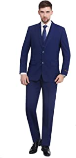 P&L Men's 3-Piece Dress Suit Modern Fit Two Button Tuxedo Blazer Jacket Tux Vest & Pleat Pants Set