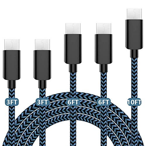 USB C Cable 5Pack (3/3/6/6/10Ft) Nylon Braided USB-C to USB-A fast compatible Samsung Galaxy S9 S8 Note 9 Note 8 Plus LG V30 G6 G5 V20 and more(Blue)