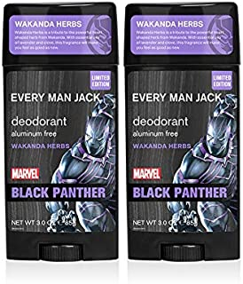 Every Man Jack Deodorant - Marvel Black Panther | 3-ounce Twin Pack - 2 Sticks Included| Naturally Derived, Aluminum Free,...