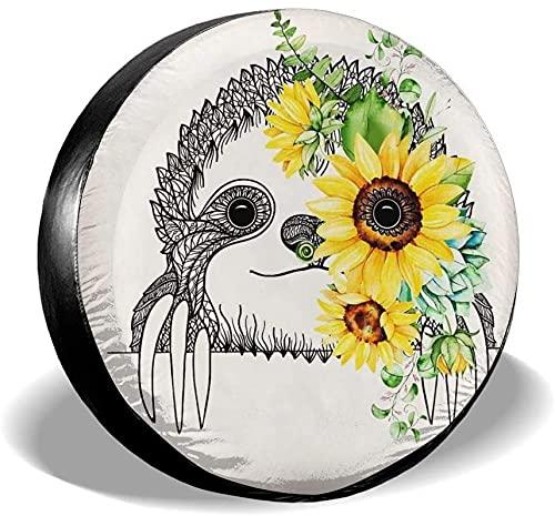 Sloth Sunflower - Cubierta para llanta de repuesto,poliéster,universal,de 15 pulgadas,para llanta de repuesto,para remolques,casas rodantes,SUV,ruedas de camiones,camiones,autocaravanas,accesorios pa
