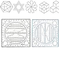Multi Function Quickly Draw Ruler,Three-Dimensional Geometric Template Measuring Ruler Round Rotatable Compass Drawing Ruler (Blue)