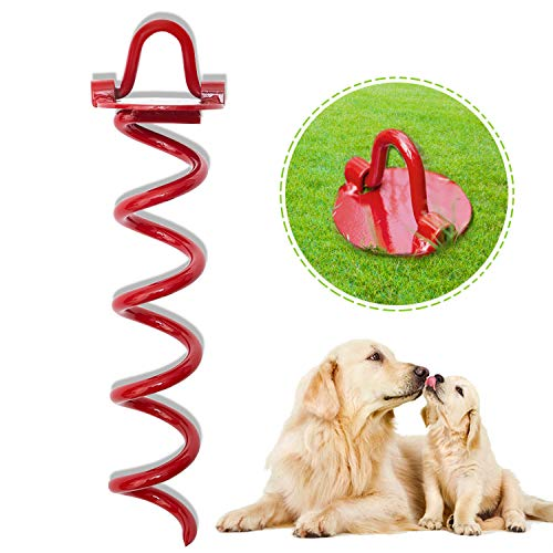 MINIPET Dog Tie Out Stake - Anti-Rust Heavy Duty Folding Spiral Stake, Red Ground Pet Anchor for Yard/Garden/Camping Outdoor/Playing in The Park, Suit for Small Medium Large Dogs