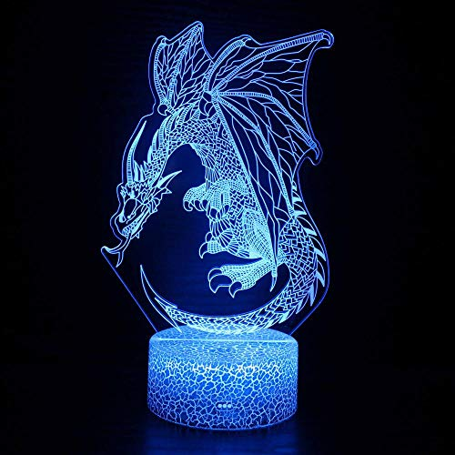 3D Illusion Birthday Present Beside Table Lamp Dragon Table Lamp with Abbase and Acryl Light Board 3D USB Bedroom Lamp