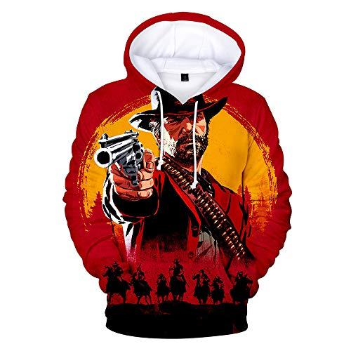 Zhangjianwangluokeji RED Dead Redemption 2 Hoodie 3D bedrucktes Sweatshirt mit Kapuze (3XL, Farbe 1)
