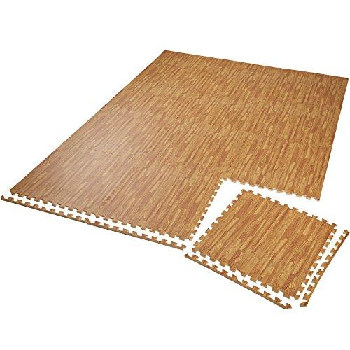 TecTake Schutzmattenset Bodenschutzmatte | rutschfest, schmutzabweisend | erweiterbares Stecksystem | Diverse Modelle (12x holzoptik | Nr. 402657)