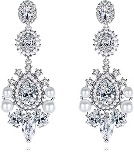 LBMTFFFFFF Pendientes de Perlas de Cristal Pendientes de Circonita Cúbica con Incrustaciones de Re, Pendientes de Novia de Boda para Mujeres, Novias, Damas de Honor