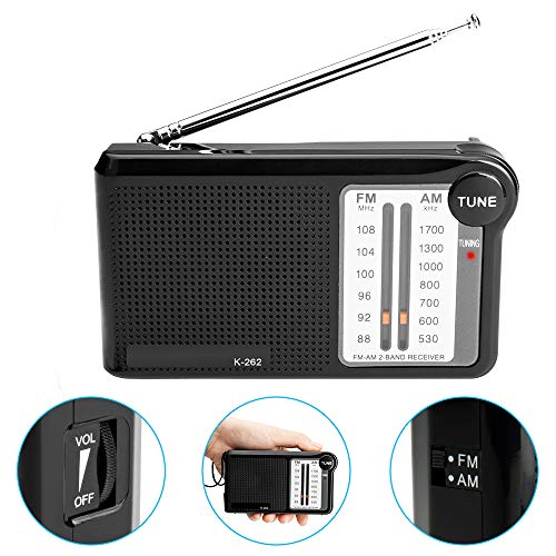 AM/FM Battery Operated Portable Pocket Radio with Best Reception, AM FM Compact Transistor Radios Player Operated by 2 AA Battery,Built-in Speaker, 3.5mm Headphone Jack (Black)