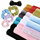Sntieecr 20 Pieces 10 Colors Velvet Fabric Velvet Hair Scrunchies Making Kit with 10m Elastic Hair Bands Tie Ropes for DIY Hair Scrunchy Supplies (9.8 x 19.6 Inch)