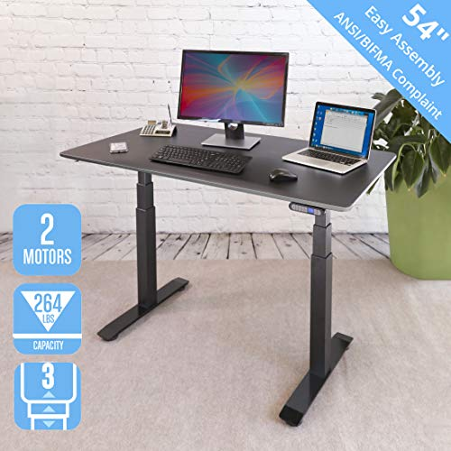 Seville Classics AIRLIFT Pro S3 54' Solid-Top Commercial-Grade Electric Adjustable Standing Desk (51.4' Max Height) Table, Gray/Ashwood