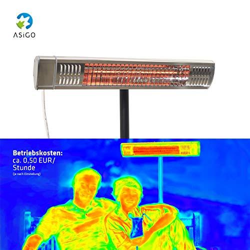 Gardigo Edelstahl Infrarotstrahler Heizstrahler, Terrassenstrahler wärmt gezielt Menschen, 2000 W, Deutscher Hersteller - 8
