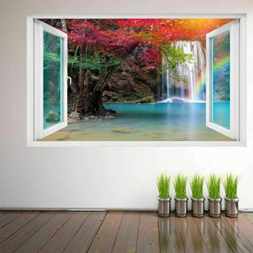 Wall Stickers Waterfall Forest Rainbow 3D Wall Art Sticker Mural Decal Poster Nature View 60x90cm