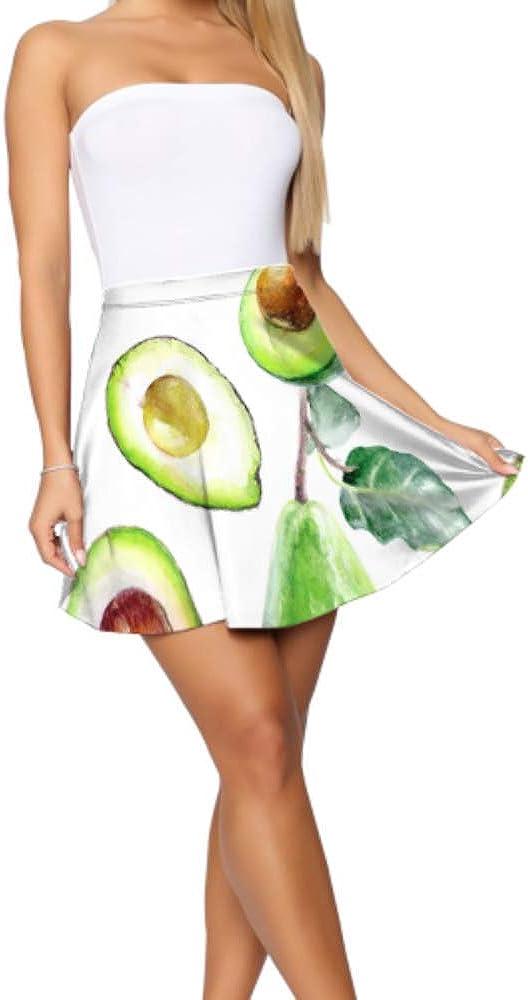 Liaosax Fancy Mini Skirt Avocado Tropical Fresh Fruit Mini Skirts Women Women's Basic Casual Pri