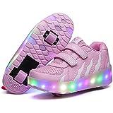 MXUS USB Carica Pattini A Rotelle LED Luci Brillantini Scarpe Sportive con Rotelle Retrattile, Adatto A Bambini E Adulti,30