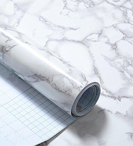 Lámina de vinilo autoadhesivo WDragon brillante en color mármol blanco y gris blanco, de pegado fácil para encimera de cocina, 40 x 250 cm.