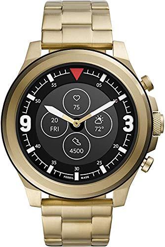 Fossil - HR Latitude - Smartwatch híbrido con Correa de Acero Inoxidable en Tono Dorado para Hombre FTW7023