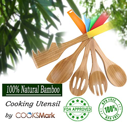 COOKSMARK 5 Piece Bamboo Cooking Utensils, Wood Spoon & Spatula Nonstick Kitchen Utensil Set with Muti-color Silicone Handle for Durable