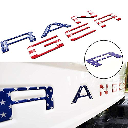 Tailgate Inserts Letters Compatible for Ranger 2019 2020, 3D Raised & Strong Adhesive Decals Letters, Tailgate Emblems Inserts Letters -American Flag