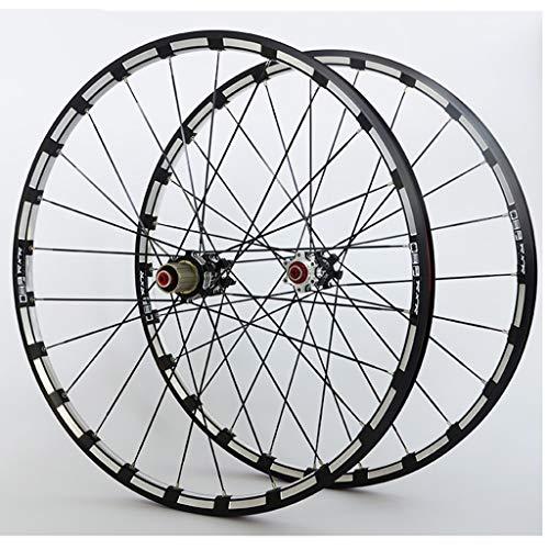 Set Ruote Bici 26/27.5/29' MTB Cerchi in Lega CNC A Doppia Parete Mozzo in Carbonio Freno A Disco 24H QR Cuscinetto Sigillato NBK per Cassette A 7-11 velocità (Color : Black hub, Size : 29')