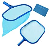 Rongbo Deep-Bag Pool Rake & Swimming Leaf Skimmer Net with Medium Fine Mesh,Fits Most Standard Pole for Cleaning Swimming Pools,Hot Tubs,Spas and Fountains (Flat rake + deep-Bag rake)