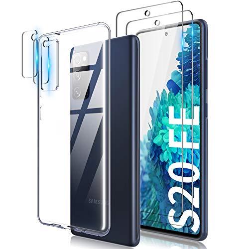TOCOL Funda Compatible con Samsung Galaxy S20 FE 4G/5G, 2 Piezas Protector de Pantalla 2 Piezas Lente de cámara Vidrio Templado HD Clara Carcasa Suave TPU Ultrafina Anticoque Case, Transparente