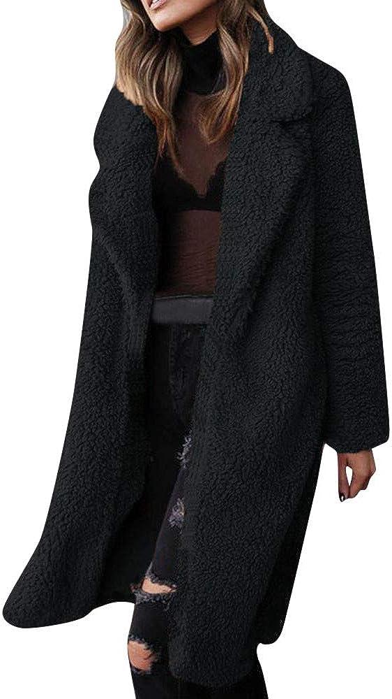 Women's Fuzzy Fleece Jacket Lapel Open Front Long Cardigan Coat Faux Fur Warm Winter Outwear Jackets Warm Sweater