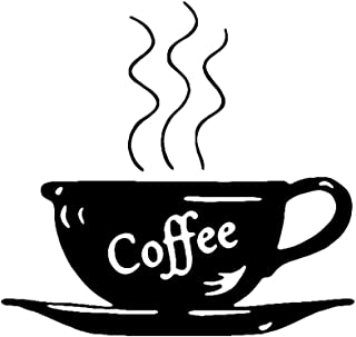 HUABEI Wall Sticker Black Coffee Cup Home Kitchen Bakery Shop Removable Wall Decals Kids Bedroom Nursery Art Decoration Sticker