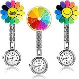 3 Piezas de Reloj de Bolsillo de Girasol, Reloj de Bolsillo Colgante de Doctor con Broche de Pin Fijo para Mujeres Médico Enfermera Paramédico