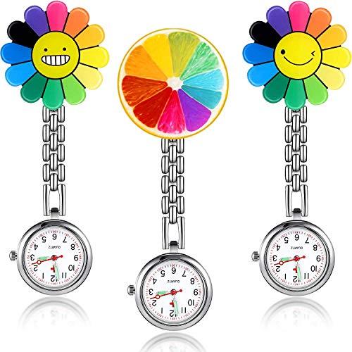 3 Stücke Sonnenblume Krankenschwester Fob Uhr, Hängende Arzt Tasche Uhr mit Fester Klammer Stift Brosche für Frauen Arzt Krankenschwester Sanitäter