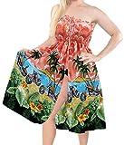 LA LEELA Costumi da Bagno Coprire Usura Spiaggia del Collo del Costume da Bagno Capestro Maxi sopra Il Ginocchio Tubo Corto Abito Rosso