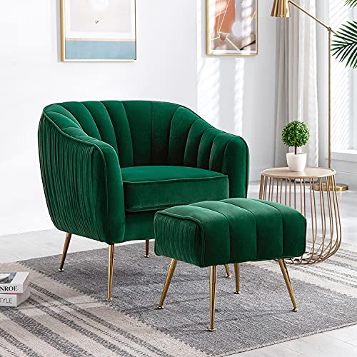 Altrobene Velvet Accent Chair with Ottoman, Modern Arm Barrel Chair Footstool Set for Living Room Bedroom, Home Office Reception Chair Set, Golden Finished, Christmas Green