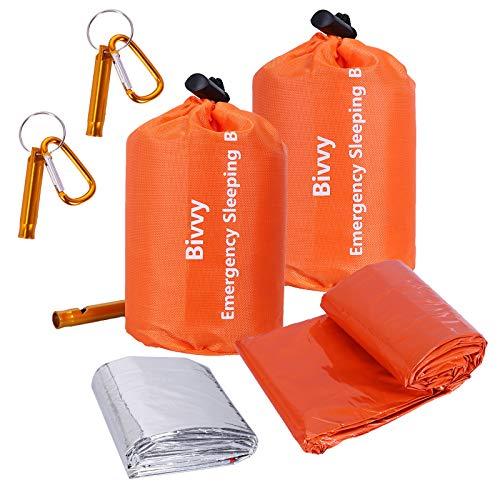 Xtextile 2Pack Emergency Sleeping Bags Lightweight and Compact Sack Survival Sleeping Bag Waterproof Thermal Emergency Blanket Survival Gear for Outdoor Camping, Hiking, Wild Adventures
