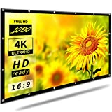 16:9 HD 100 inch Foldable Projector Screen for Home Backyard Theater Outdoor Indoor |Anti-Crease Portable Projector Movies Screen Support Double Sided Projection(Rear Projection Screen)