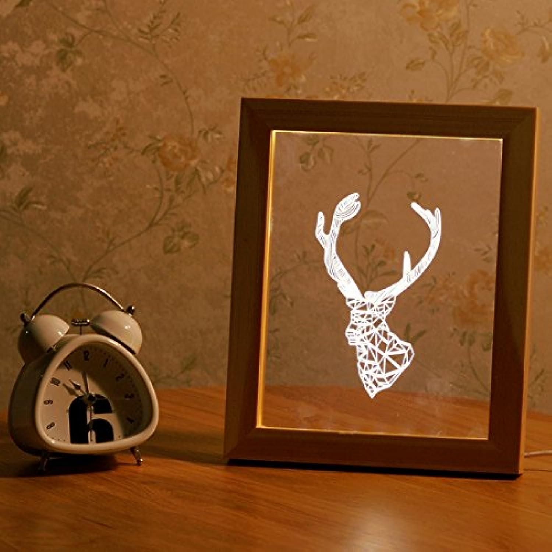 DADEQISH Neue FL-701 Bilderrahmen Illuminative LED Nachtlicht Nachtlicht Nachtlicht Holz Deer Head Desktop Dekorative USB Lampe Innenlicht (Farbe   Log) B07NV9BVJ7  | Auktion  f16b42