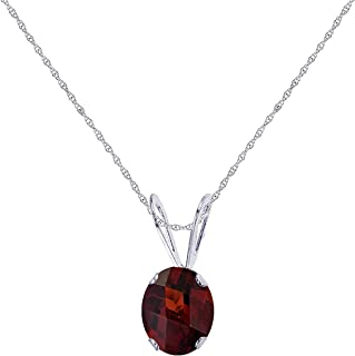 ctw 14k Gold Round Red Garnet Womens Solitaire Pendant with 18 Chain Necklace 0.12 Carat 3 MM