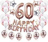 JeVenis 60 Decoraciones DE CUMPLEAÑOS Oro Rosa Ideal para Suministros de Fiesta de cumpleaños 60 y Decoraciones de Fiesta de Oro Rosa