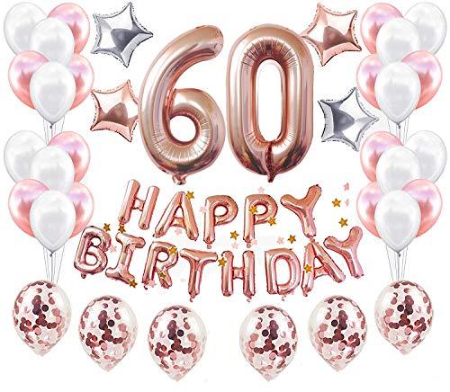 JeVenis 38 STÜCKE Rose Gold 60. Geburtstag Dekorationen Party Supplies Nummer 60 Geburtstag Luftballons Alles Gute zum Geburtstag Ballon Banner 60 Geburtstag Dekorationen für Sie