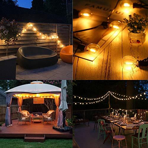 Solar Guirnaldas Luminosas de exterior 25FT 7.6M 4400mAh 2200K Luz ámbar 25 zócalos 27 G40 Bombillas LED, Luces decorativas románticas para exteriores para Patio, Terraza, Pérgola, Luces de paraguas