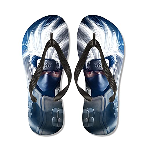 WWZY Flip-Flops for Men Zapatos De Playa Y Piscina Hombre Chanclas Anime Naruto Hatake Kakashi Verano Ducha Interiores Zapatillas,Negro,EU 41~42(270)