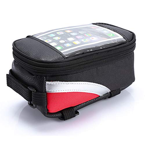 Chnrong Bicycle Front Frame Bag, Waterproof Bicycle Top Tube Cycling Phone Mount Pack with Touch Screen, Sun Visor, Large Capacity Phone Case for 7.2 Inch Mobile Phone