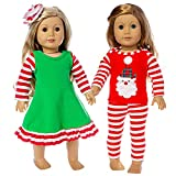 Ecore Fun 2 Set 18 Inch Doll Christmas Clothes Dress Pajamas Outfits for American 18 Inch Girl Doll