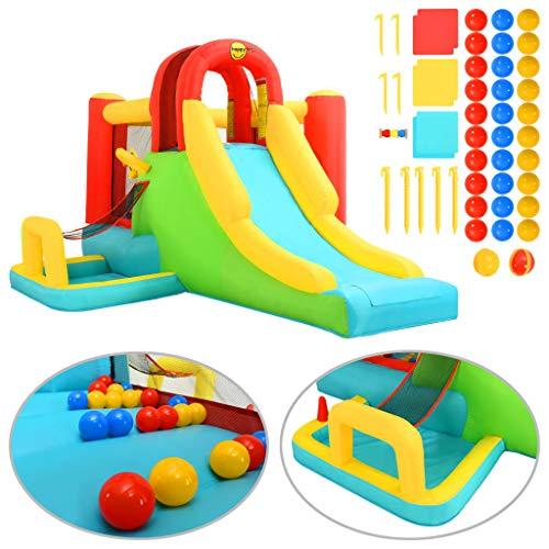 Tidyard Kid Inflatable Bouncer Bouncy Castle with Plastic Balls&Slide Happy Hop& Airflow Fan 400x295x200 cm PVC Indoor Outdoor Gift