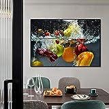 LZASMMVP Lienzo Moderno, Arte de Pared, Carteles de Alimentos de Frutas, Pintura Impresa para la Cocina, decoración del hogar, Cuadros de Pared de UVA de Manzana para Comedor   60x80 cm sin Marco