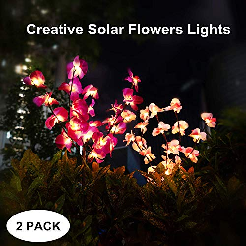 mopha Solar Garden Lights Outdoor Stake Bright LED Solar Powered Landscape Lights for Pathway,Yard,Patio,Deck,Walkway Christmas Decoration- Two Mode Solar Tree Lights (Orchid Light)