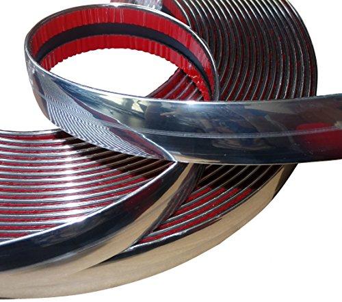 AERZETIX: Tira Adhesiva para Decoracion de níquel Cromo para Coche Color Plata 25mm 4.5m
